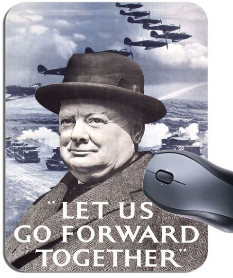 WW2 1940s Let Us Go Forward Churchill Mouse Mat. British War Poster Mouse Pad
